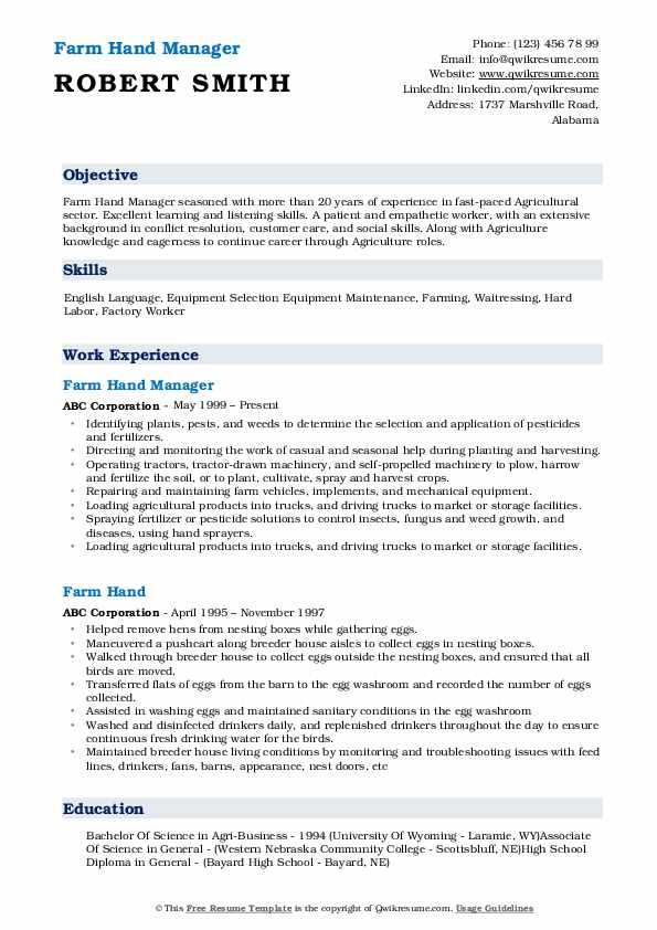 Farm Hand Manager Resume Model