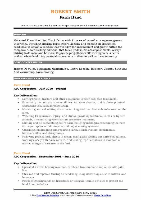 Farm Hand Resume Model