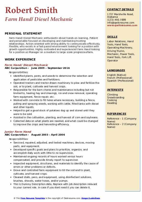 Farm Hand/ Diesel Mechanic Resume Template
