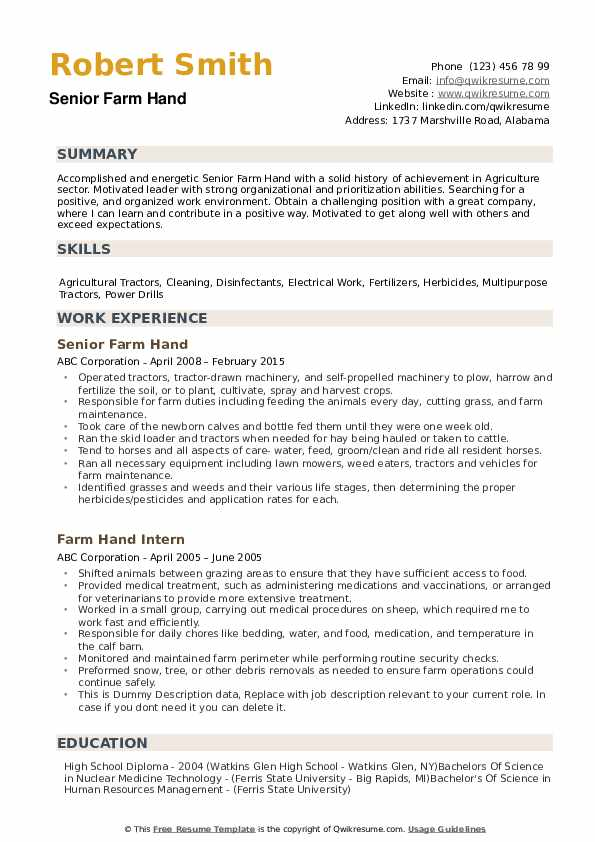 Farm Hand Resume example