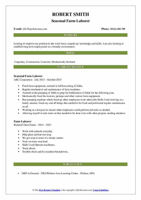 Seasonal Farm Laborer Resume Sample