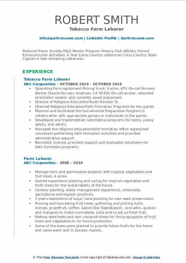 Tobacco Farm Laborer Resume Model