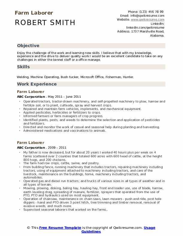 Farm Laborer Resume example