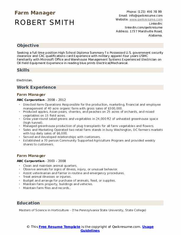 farm manager resume samples