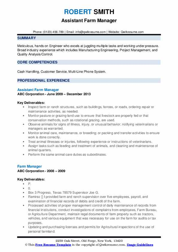 Assistant Farm Manager Resume Example