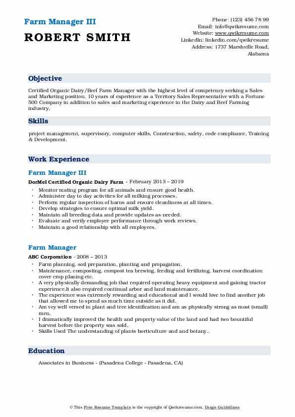 Farm Manager III Resume Sample
