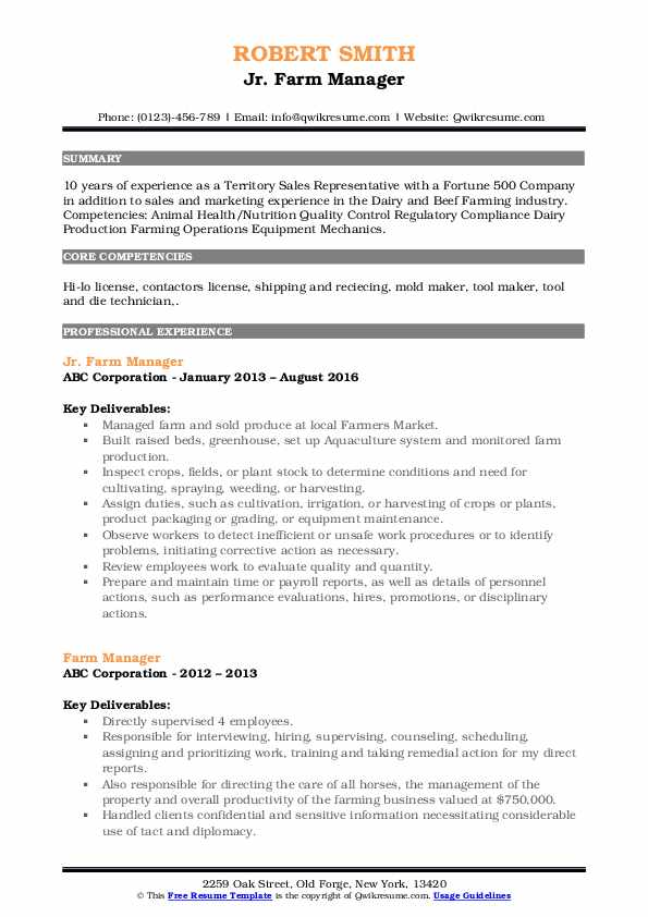 Jr. Farm Manager Resume Template