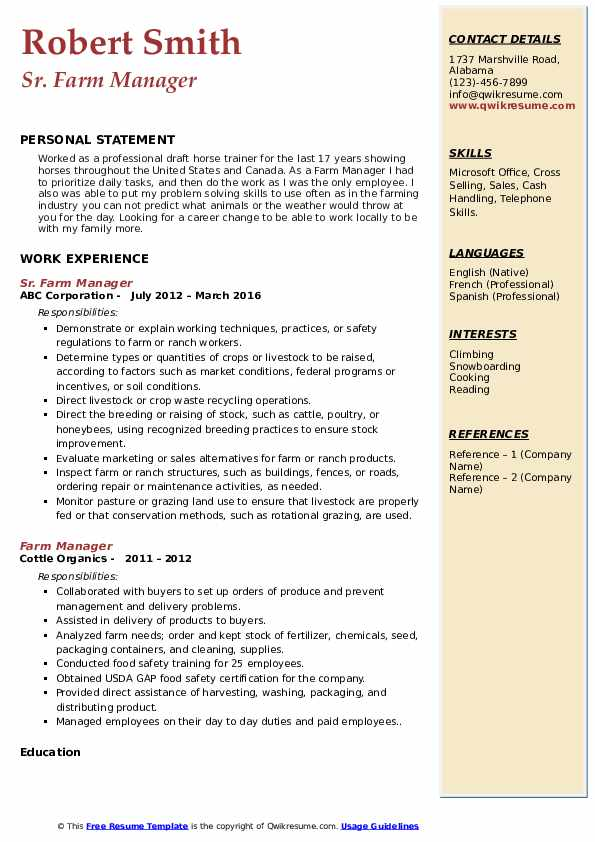 Sr. Farm Manager Resume Model