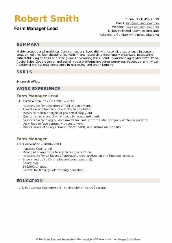 Farm Manager Lead Resume Sample
