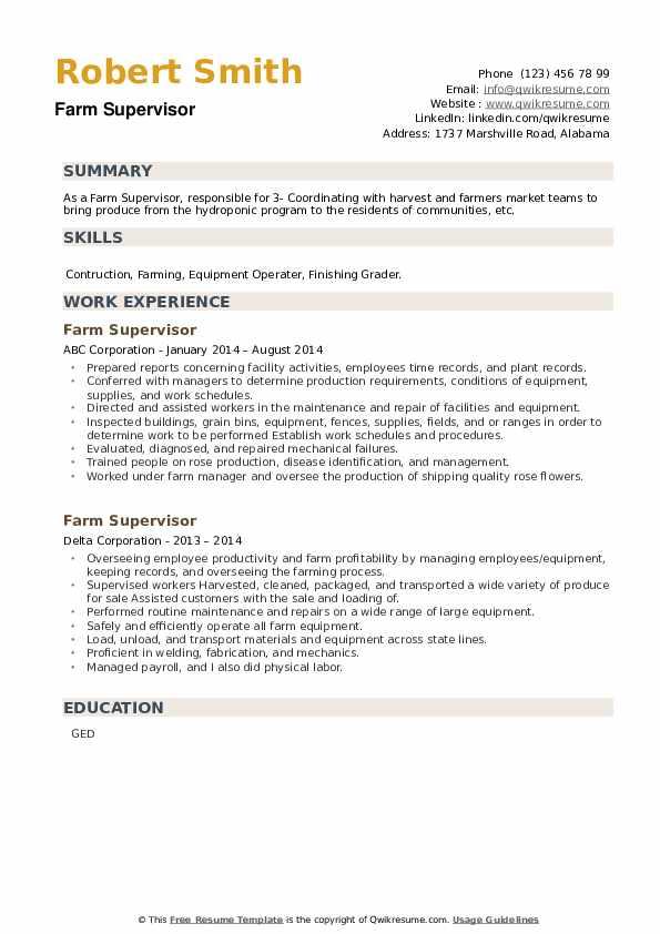 Farm Supervisor Resume example