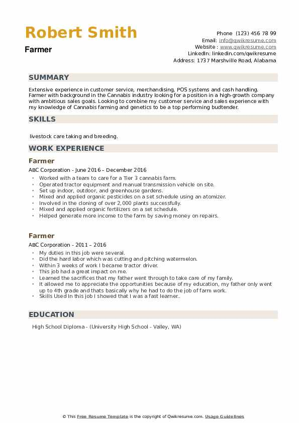 Farmer Resume example
