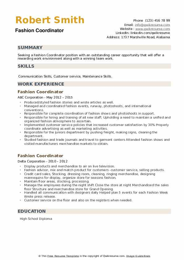 Fashion Coordinator Resume example