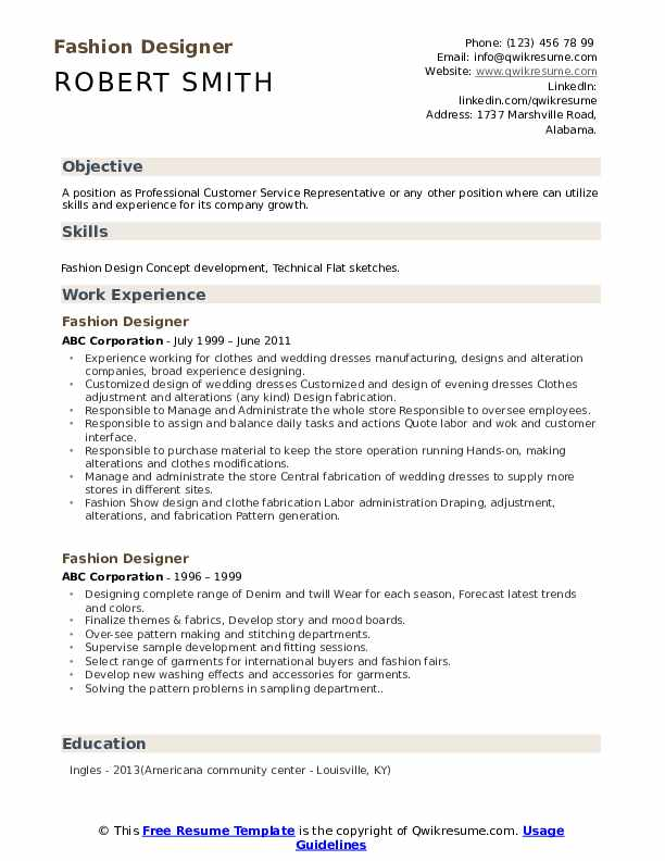 Fashion Designer Resume Samples Qwikresume