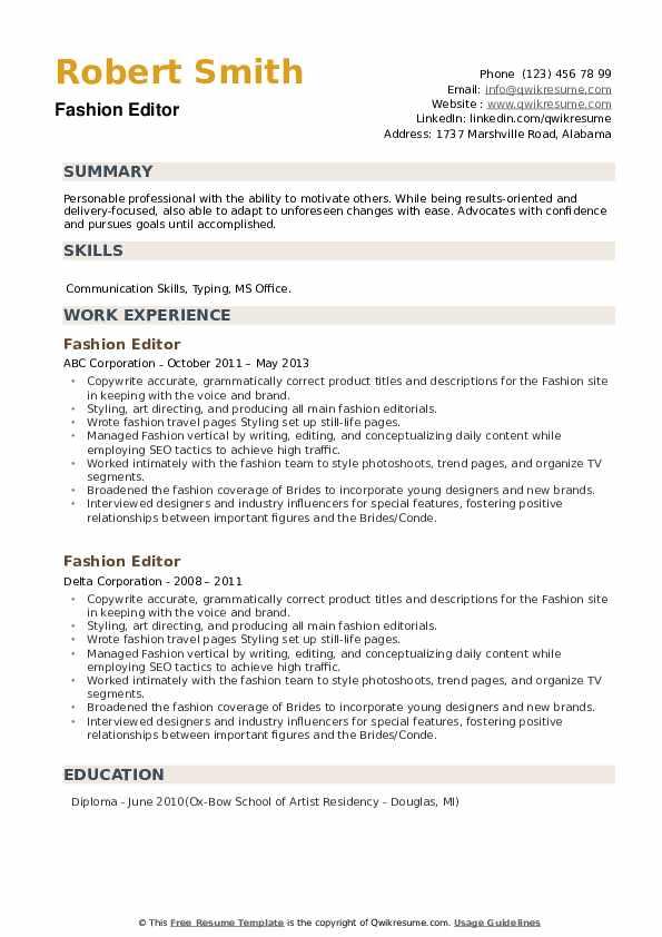 Fashion Editor Resume example