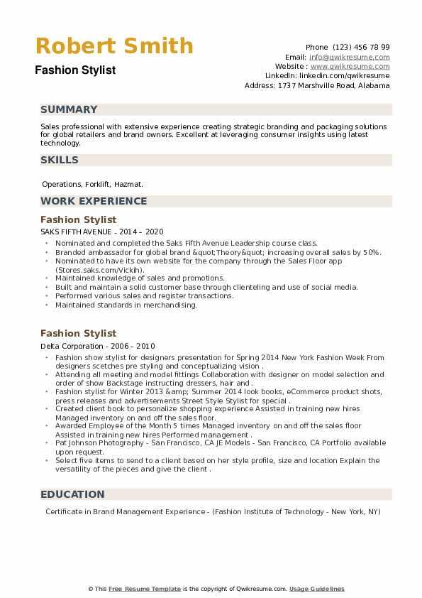 Fashion Stylist Resume example