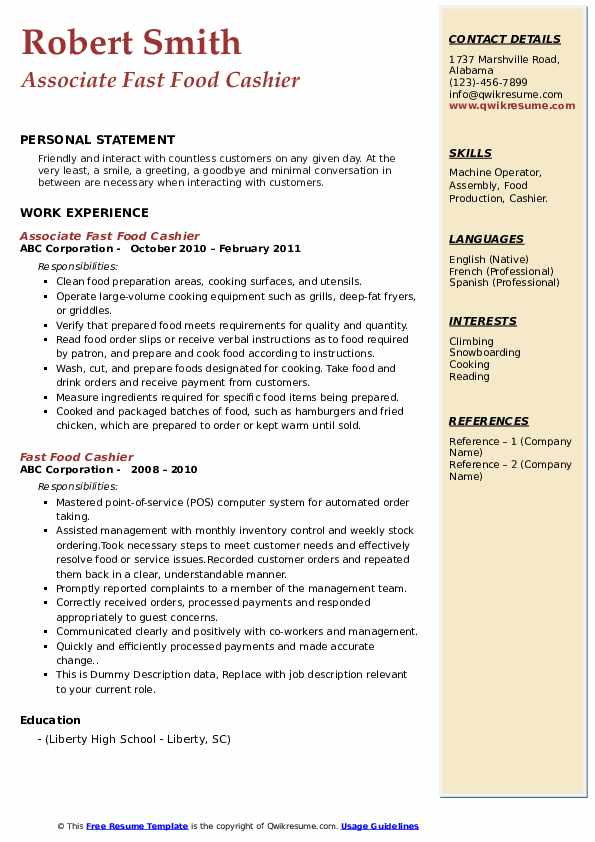 Fast Food Cashier Resume Samples Qwikresume