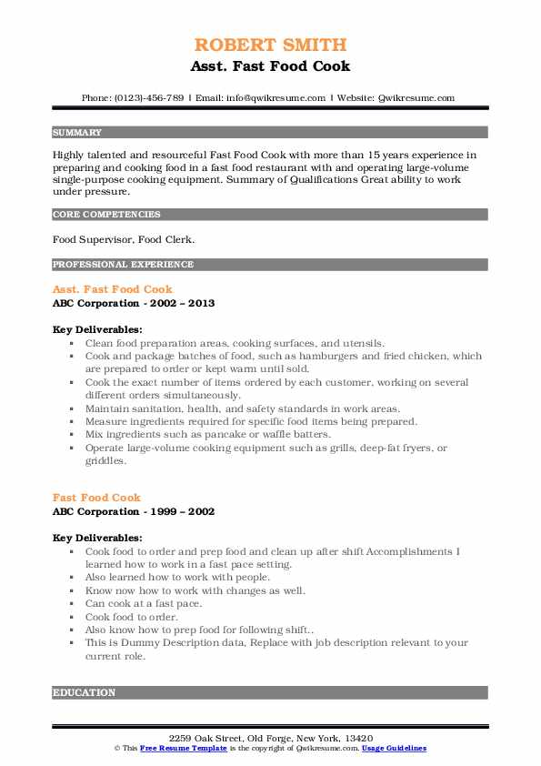 Fast Food Cook Resume Samples Qwikresume