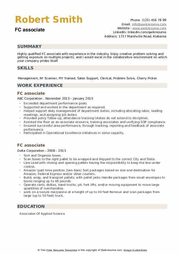 FC associate Resume example