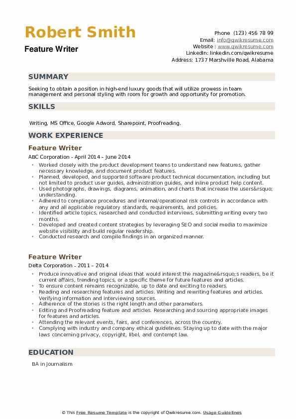 Feature Writer Resume example