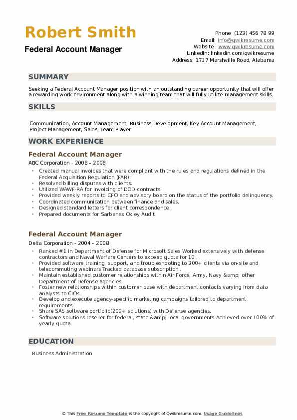 Federal Account Manager Resume example
