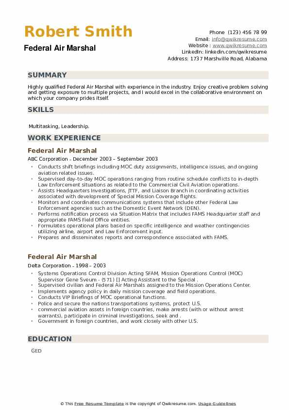Federal Air Marshal Resume example