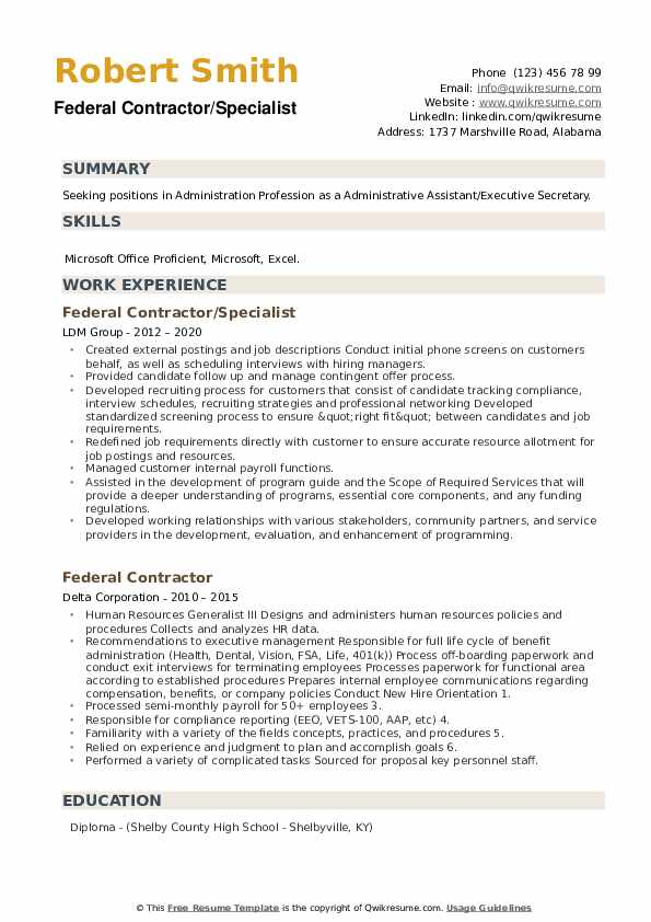 Federal Contractor Resume example