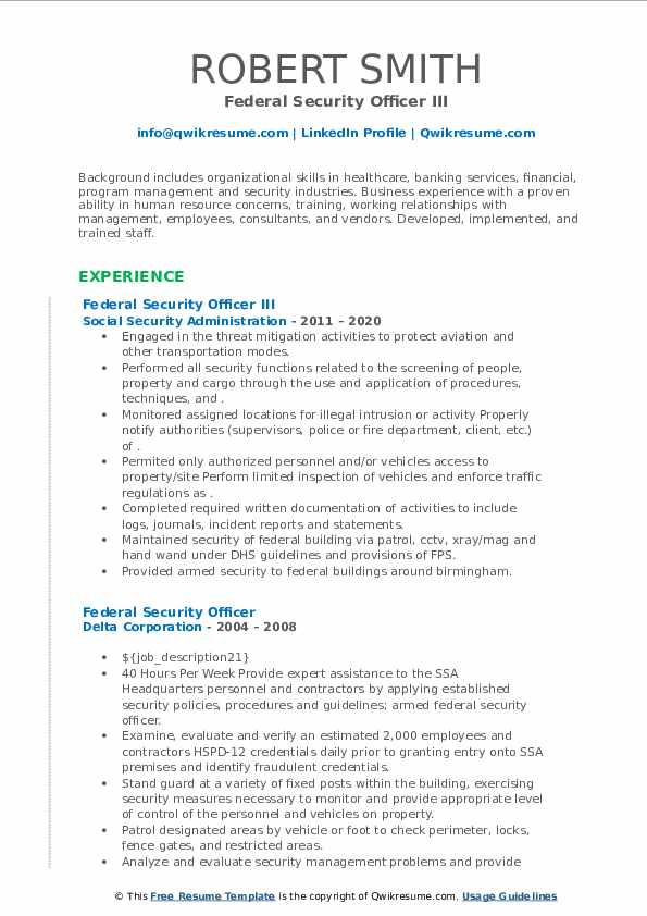 Federal Security Officer Resume Samples Qwikresume