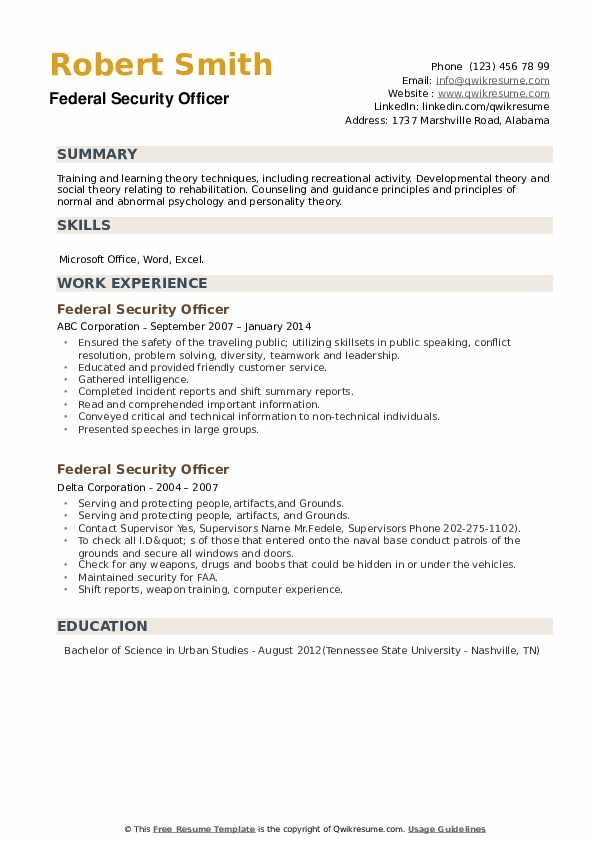 Federal Security Officer Resume example