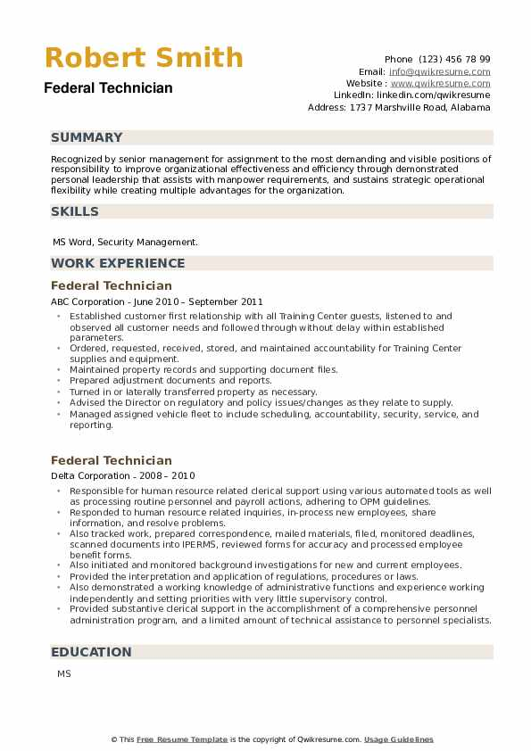 Federal Technician Resume example