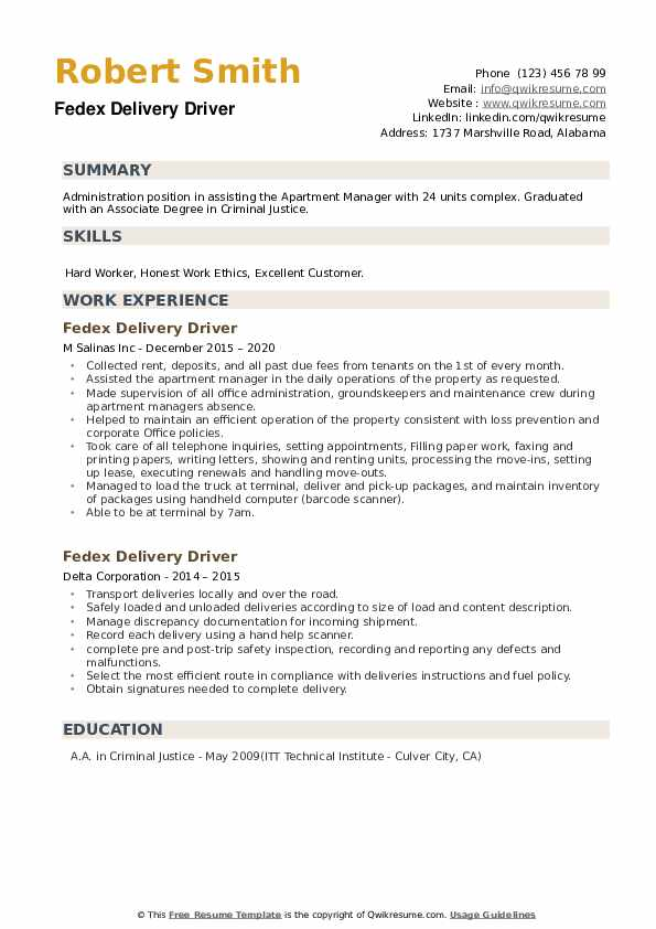 Fedex Delivery Driver Resume example