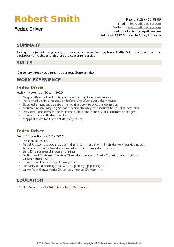 Fedex Driver Resume example
