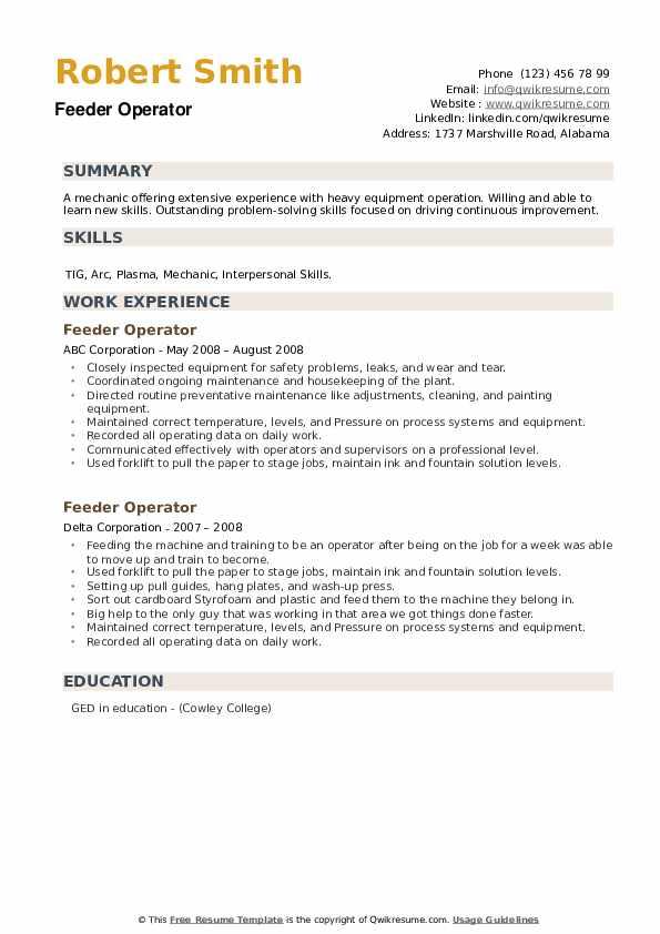 Feeder Operator Resume example