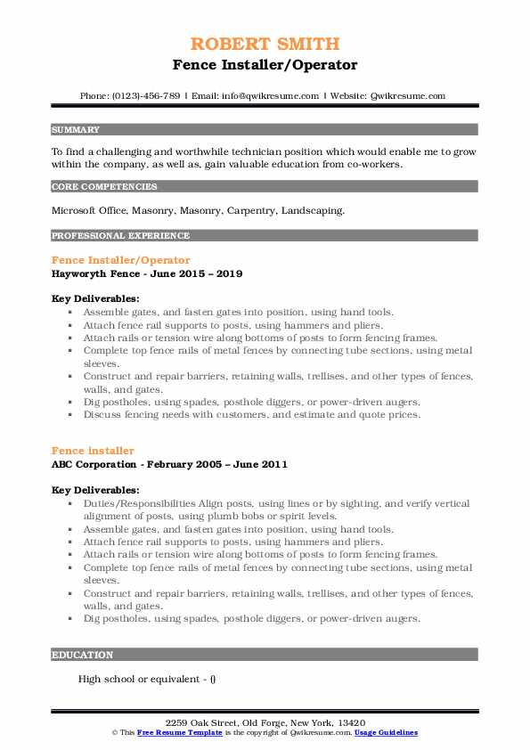 Fence Installer/Operator Resume Example