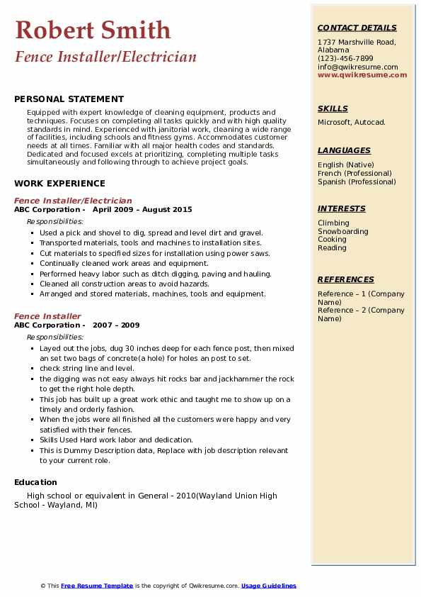 Fence Installer/Electrician Resume Format