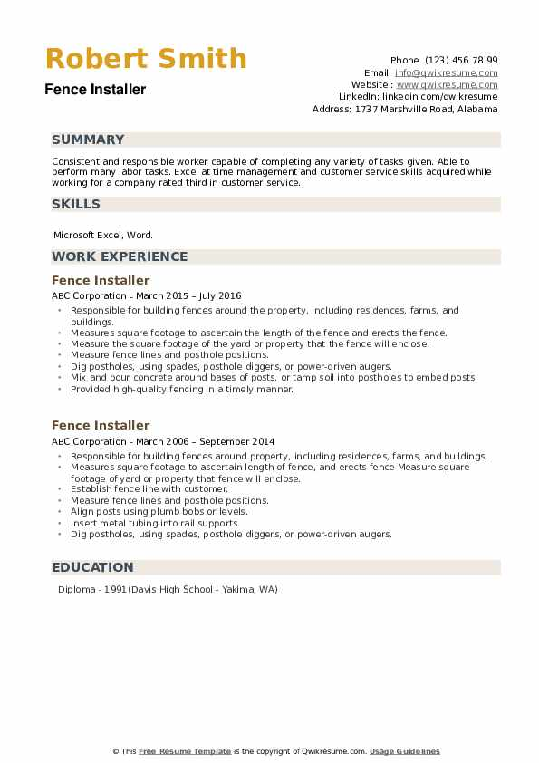 Fence Installer Resume example