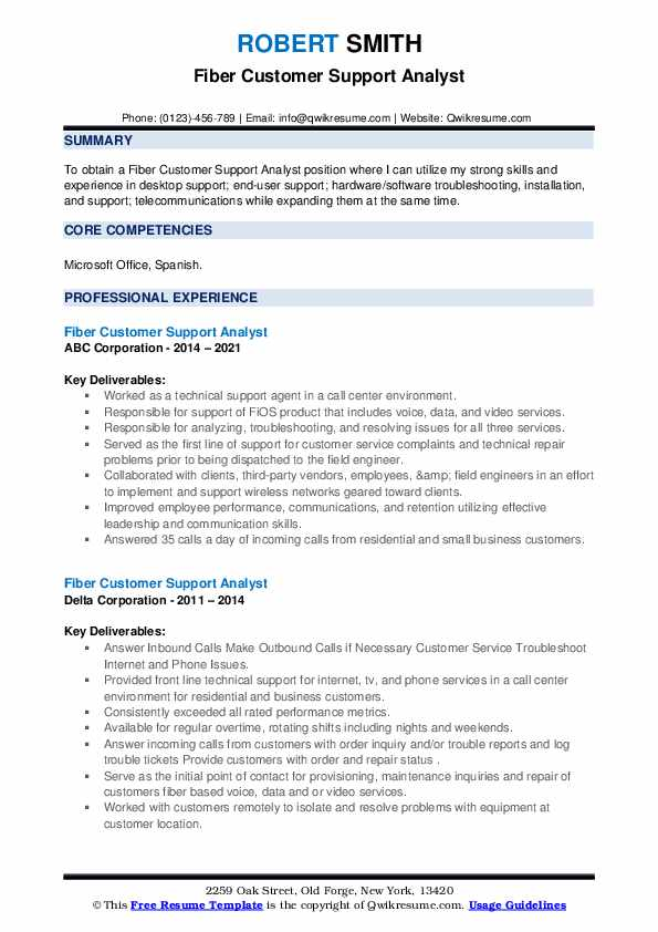 Fiber Customer Support Analyst Resume example