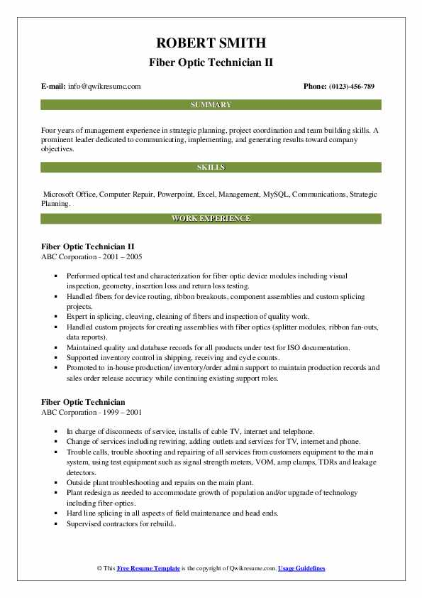 Fiber Optic Technician Resume Samples Qwikresume