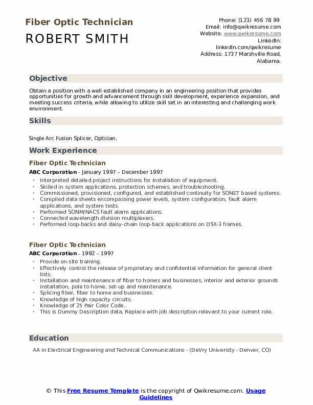 Fiber Optic Technician Resume example