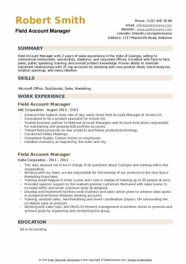 Field Account Manager Resume example