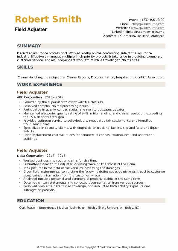 Field Adjuster Resume example