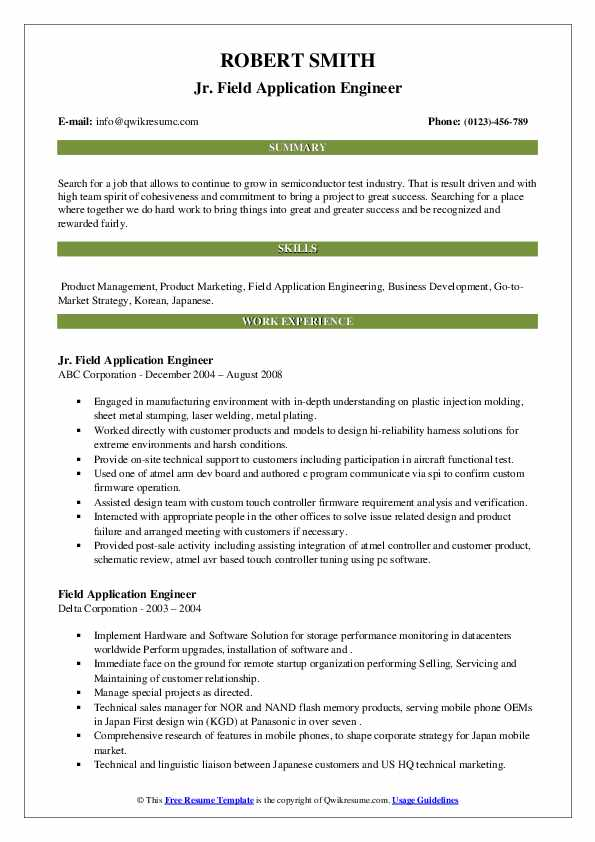 Field Application Engineer Resume Samples Qwikresume