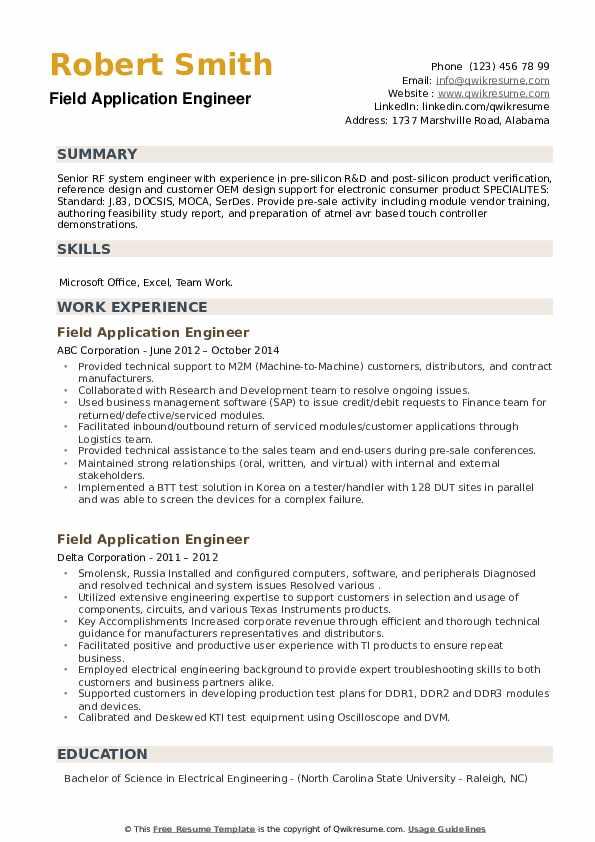 Field Application Engineer Resume example