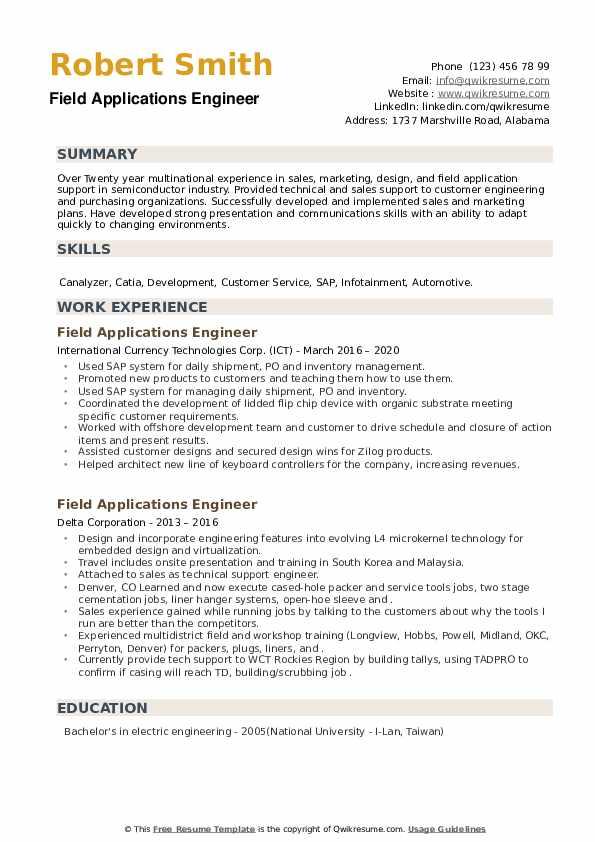 Field Applications Engineer Resume example