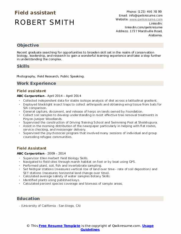 field assistant resume samples