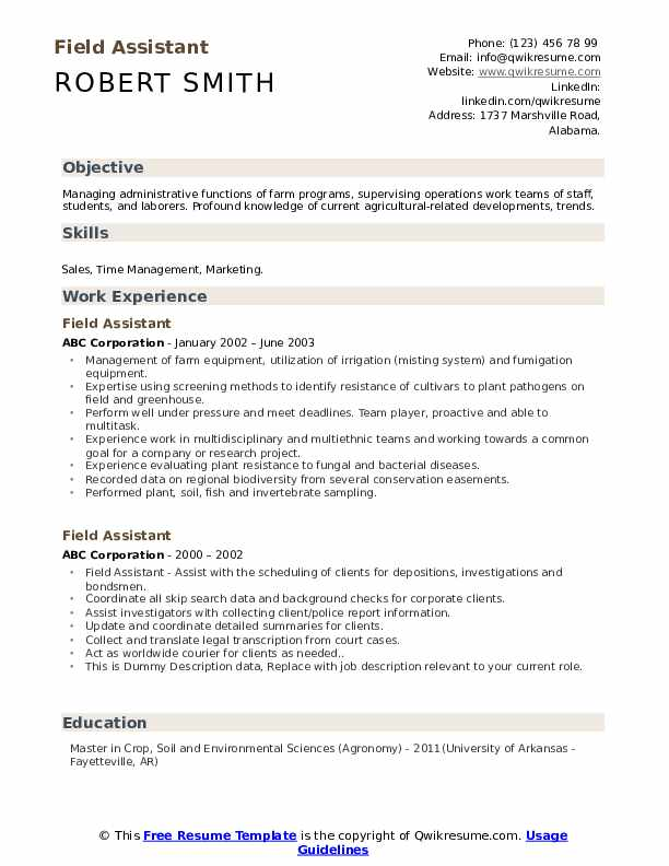 Field Assistant Resume example