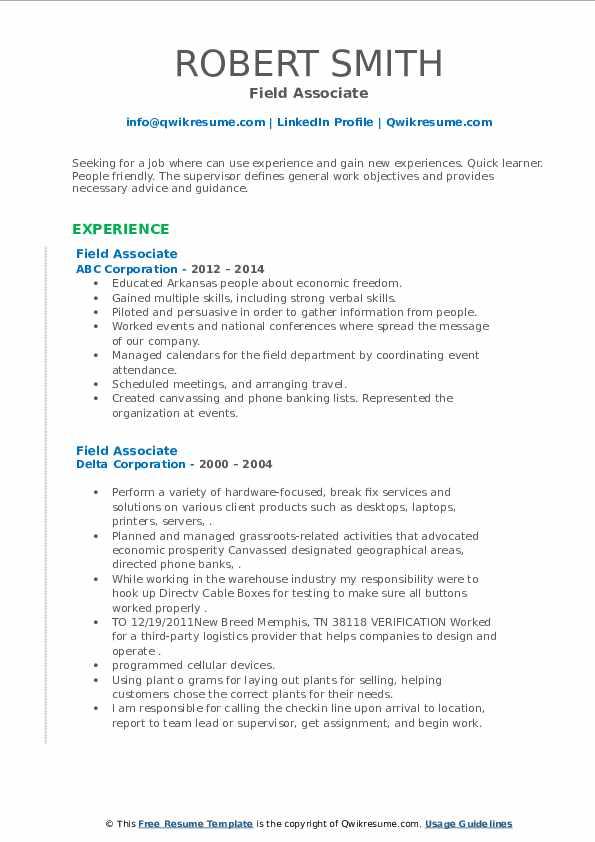 Field Associate Resume example