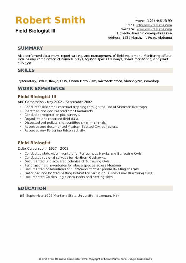 Field Biologist Resume example
