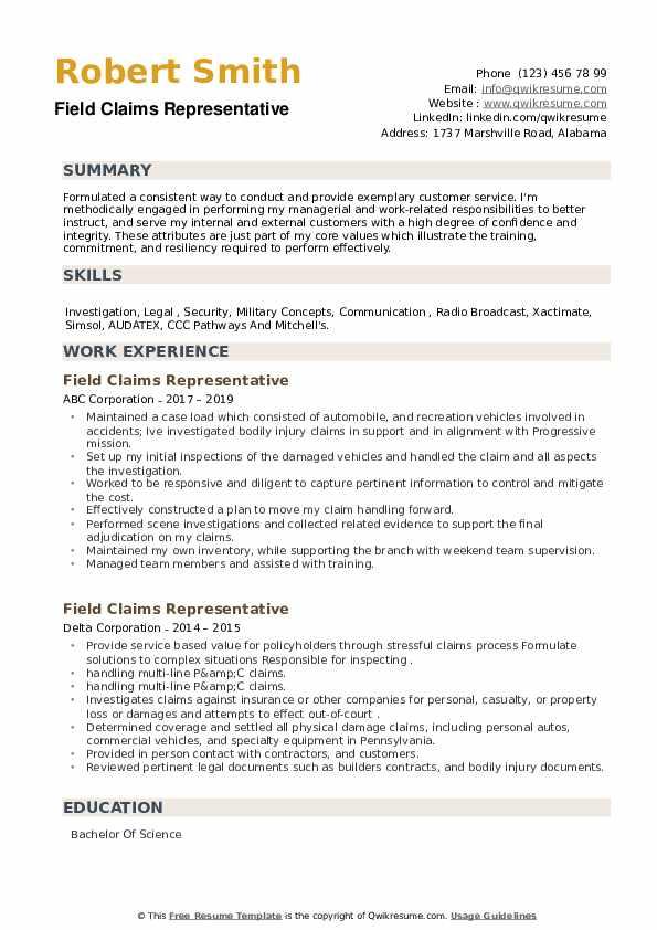 Field Claims Representative Resume example