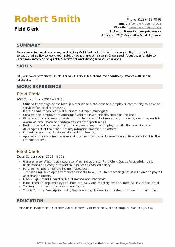 Field Clerk Resume example