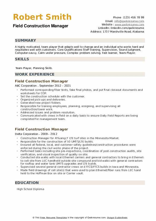 Field Construction Manager Resume example